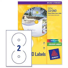 Avery Labels Dvd Avery Cd Dvd Labels Laser 2 Per Sheet Photo Quality Glossy Colour