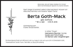 Traueranzeigen von Berta Goth-Mack | trauer.flz.de