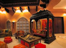 View in gallery Amazing living room that combines Indian and Moroccan flavor