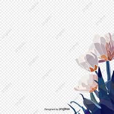 Flower Edge Design Blue White Flattened Flowers From The Edge Element Leaf