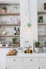 rustic white kitchens. White Brick Wall And Rustic Wooden Shelves For Eclectic Kitchen Ideas Kitchens
