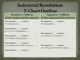 aim how do we write a dbq essay on the industrial revolution  14 industrial revolution t chart outline positive effects of the industrial revolution negative