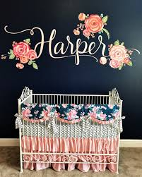 pink and navy girls crib set