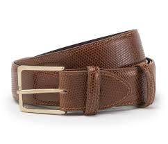 Light Brown Leather Belt Light Brown Mock Lizard With Brass Buckle Leather Belt