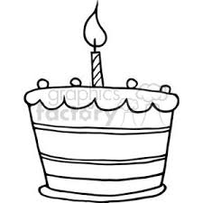 birthday candle clip art black and white. Simple White Black And White Birthday Cake One Candle Inside Clip Art And B