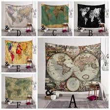 60 x 51 inch 3d digital printing watercolor world map tapestry wall hanging polyester art blanket home decor tapestries hippie tapestries hippie wall