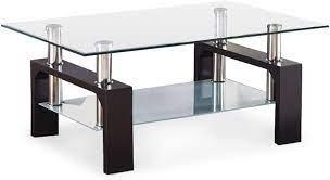 mecor rectangle glass top coffee