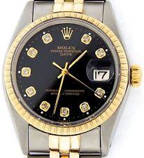 rolex solid gold watch mens rolex date 14k yellow gold stainless steel watch jubilee black diamond 1505