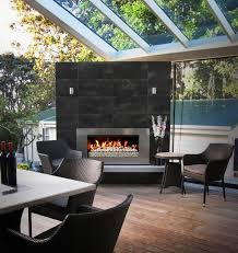 urban villa extension with escea outdoor fireplace