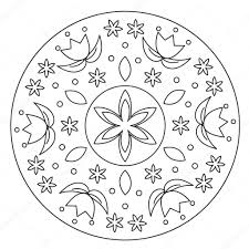 Coloriage Mandala Fleur Simple Image Vectorielle Ingasmk