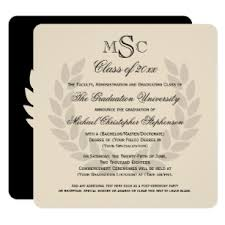 Formal College Graduation Announcements Wreath Monogram Square Classic College Graduation Invitation