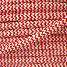 fabric lighting cable 3 core. Striped Flex / Fabric Lighting Cable In A Red And White Finish. Round 3 Core