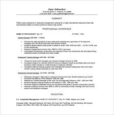 free restaurant manager pdf template restaurant manager resume template