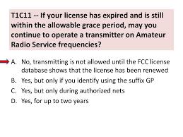 Grace period for amateur radio license