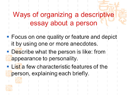 writing unit my role model period warm up  who is  ways of organizing a descriptive essay about a person  focus on one quality or feature