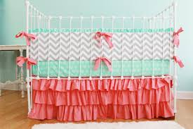 image of aqua and c crib bedding