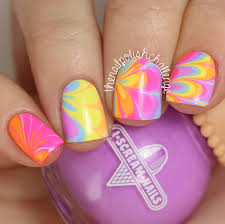 Neon Rainbow Watermarble Nail Art with I Scream Nails   The Nail ...