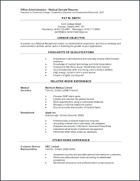 Resume Examples For Medical Jobs Receptionist 5 Splendid 1 Template