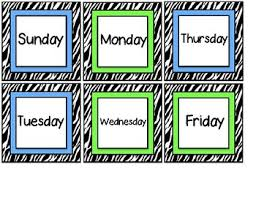 Zebra Striped Days Of The Week Cards For Pocket Calendar Chart Calendar Cards
