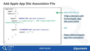 apple app site association. 23. #SMX #23A2 @goutaste Add Apple App Site Association