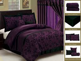 new royal purple black bedding flock satin comforter set full queen king curtain