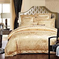 Gold White Blue Jacquard Silk Bedding Set Luxury 4 6pcs Satin Bed
