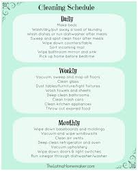 Cleaning Schedule Daily Weekly Monthly Checklist Vs The