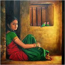 beautiful indian women art paintings