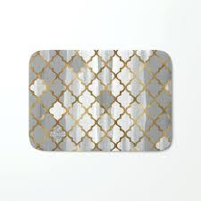 tile pattern in grey and gold bath mat moroccan uk endearing long bath mat