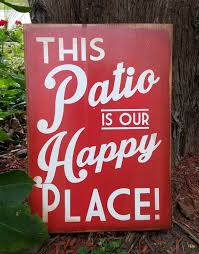 Patio Sign This Patio is our Happy Place Distressed Wood Sign   Etsy
