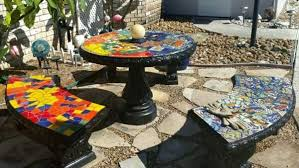 outdoor mosaic patio table with bench seats by naomi haas