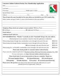Application For Membership Lancaster Italian Cultural Society Become A Member