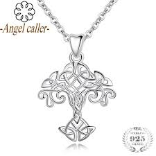 2019 angel caller 925 sterling silver tree of life pendant necklace with celtics knot design silver jewelry chain family tree pendant y18102910 from gou10