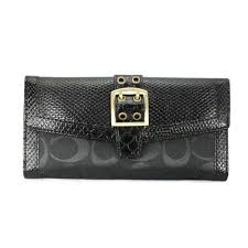 Coach Madison Embossed Buckle Large Black Wallets EER