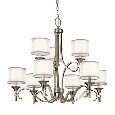 kichler lacey 34 25 in 9 light antique pewter vintage hardwired etched glass tiered chandelier