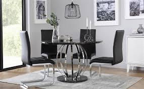 gallery savoy round black marble and chrome dining table with 4 perth