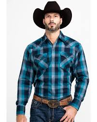 Ely Cattleman Mens Assorted Multi Peached Plaid Long Sleeve Western Shirt Tall