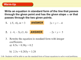 5 6b word problems with standard form pms math print how to write an equation