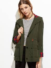 olive green plaid lining drawstring waist hooded utility jacket pictures