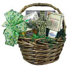 celtic irish gift basket with shamrock bead rosary mater dei imports