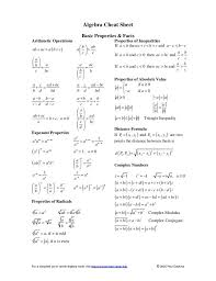 algebra cheat sheet basic properties facts arithmetic operations properties of inequalities if a b