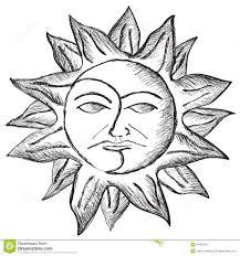 солнце и эскиз стороны луны иллюстрация штока иллюстрации