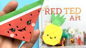 easy kawaii melon bookmark corner melon pineapple paper diys red ted art