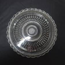 1960s mid century pressed glass footed glass cake plate stand 12 25 inch diameter unknown tear drop pattern scalloped border home decor by