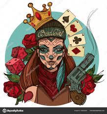 эскиз татуировки девушка смерть векторное изображение Filkusto