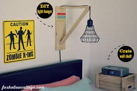 eclectic teen boy bedroom makeover diy wall light hanger crate as wall shelf