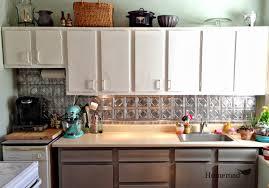 Tin Backsplashes For Kitchens White Wall Kitchen Cabinet Design With Tin Backsplash And Quartz
