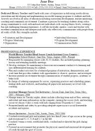 assistant football coach resume example sample gymnastics template life  skills soccer format .