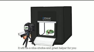 Photo Studio Box Light Cube Tent Puluz Folding Portable White Light Photo Lighting Tent Box Kit With 3 Colors Backdrops