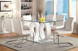 lodia i white gl top rectangular pedestal dining room set